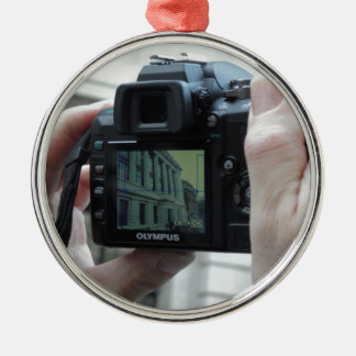 Picture in picture Silver-Colored round decoration