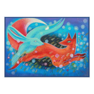 Picture of Animals, A fox and A Hare. Poster