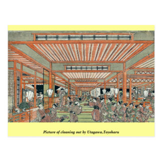 Picture of cleaning out by Utagawa,Toyoharu Postcards