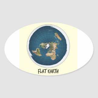 Picture Of Flat Earth Oval Sticker