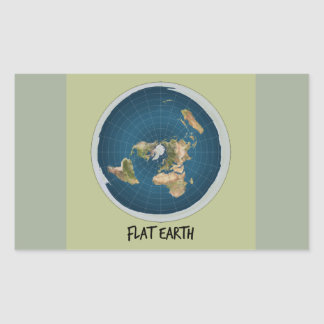 Picture Of Flat Earth Rectangular Sticker