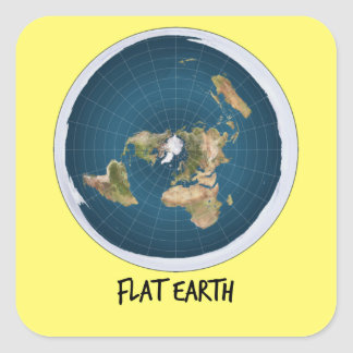 Picture Of Flat Earth Square Sticker