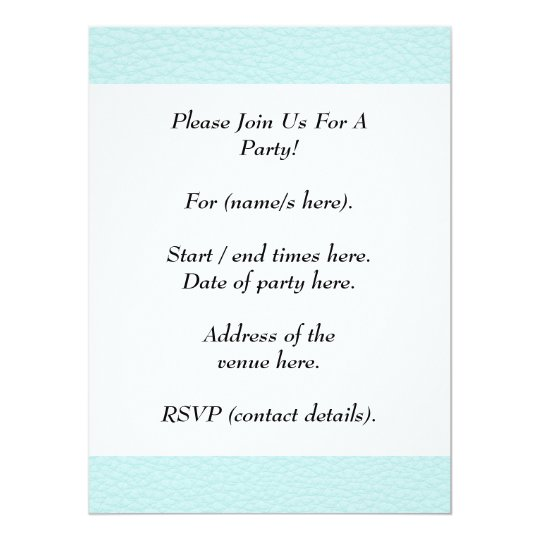 Picture of Light Turquoise Leather. 17 Cm X 22 Cm Invitation Card