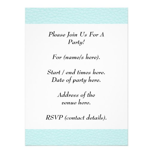 Picture of Light Turquoise Leather. Invitation