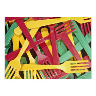 "Picture of Plastic knives and forks 5"" X 7"" Invitation Card"