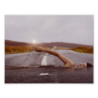 picture of swimmer in landscape poster