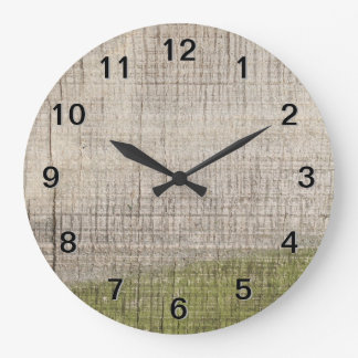 Picture of Wood with Green Algae. Large Clock