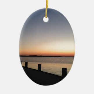 Picture Perfect Sunset Lake Ceramic Oval Decoration