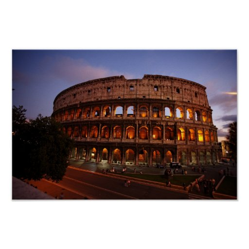 Pictures of Rome: Coliseum at Sunset: Poster