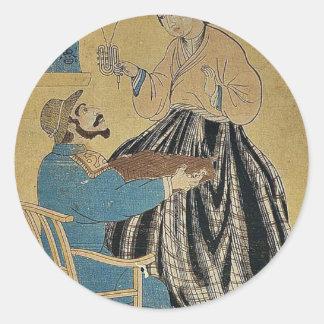 Pictures of Russian people by Utagawa,Yoshitora Round Sticker