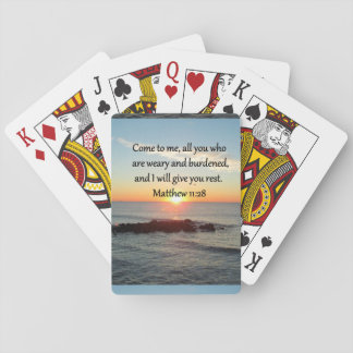 """PICTURESQUE MATTHEW 11""""28 SCRIPTURE VERSE PLAYING CARDS"""