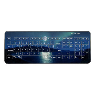 Picturesque Moon Over Scenic Lake Wireless Keyboard