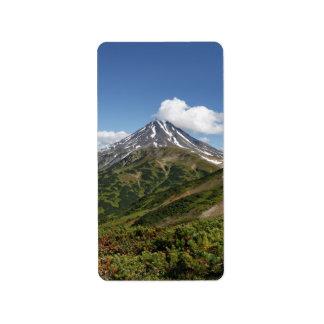 Picturesque summer volcano landscape in Kamchatka Address Label