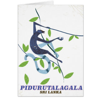 Pidurutalagala Sri Lanka travel poster. Card