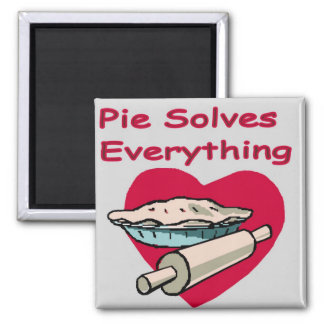 Pie Solves Everything Apron Square Magnet