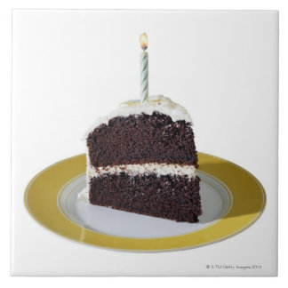 Piece of Birthday Cake Large Square Tile
