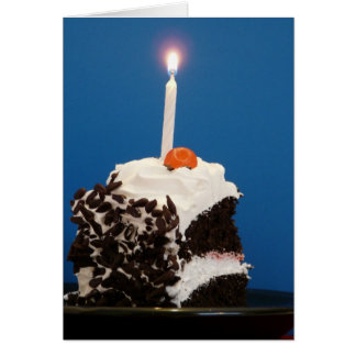 Piece of Cake with one lit candle Cards