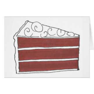 Piece of Red Velvet Layer Cake Slice Baking Foodie Card