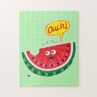 Piece of watermelon expressing pain after a bite jigsaw puzzle