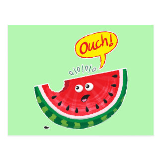Piece of watermelon expressing pain after a bite postcard
