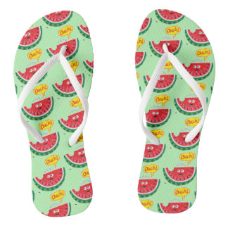 Piece of watermelon expressing pain after a bite thongs
