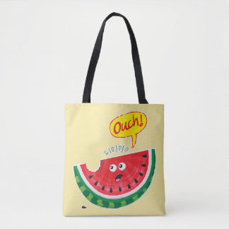 Piece of watermelon expressing pain after a bite tote bag