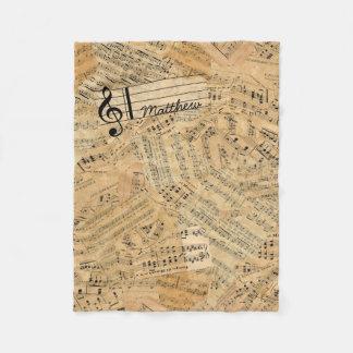 Pieces of Vintage Music ID389 Fleece Blanket