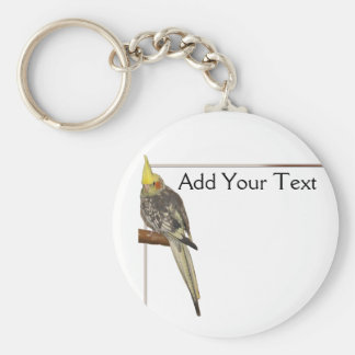 Pied Cockatiel on a Branch with White Basic Round Button Key Ring