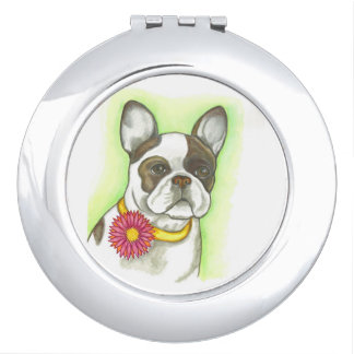 Pied French Bulldog with flower compact mirror