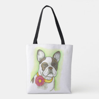 Pied French Bulldog with flower tote