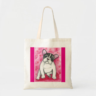 Pied French Bulldog with pink tote