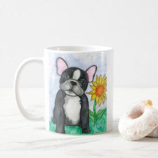 Pied French Bulldog with sunflower mug