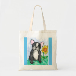 Pied French Bulldog with sunflower tote