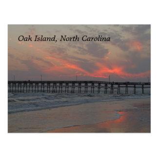 Pier and Sunset - Oak Island, NC Postcard