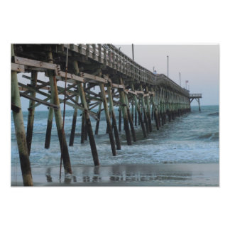 Pier and Waves - Oak Island, North Carolina Photo Art