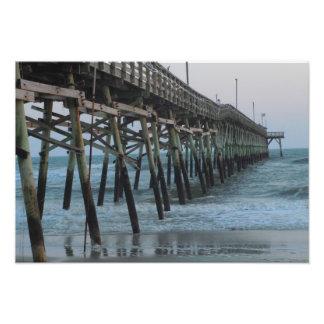 Pier and Waves - Oak Island, North Carolina Photo Print