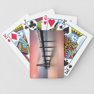 Pier at sunset bicycle playing cards