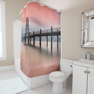 Pier at sunset shower curtain