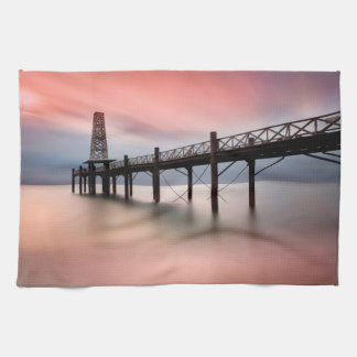 Pier at sunset tea towel