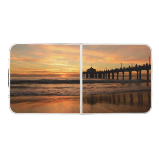 Pier beach sunset beer pong table