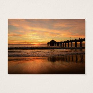Pier beach sunset business card