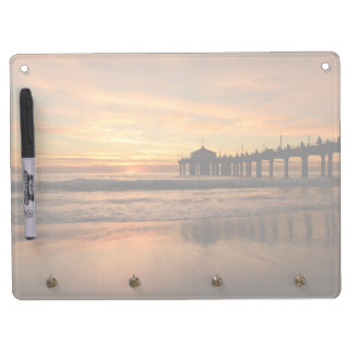 Pier beach sunset dry erase board with key ring holder