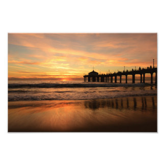 Pier beach sunset photo print