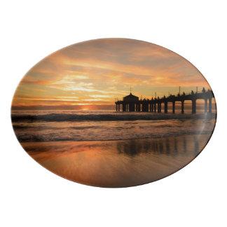 Pier beach sunset porcelain serving platter
