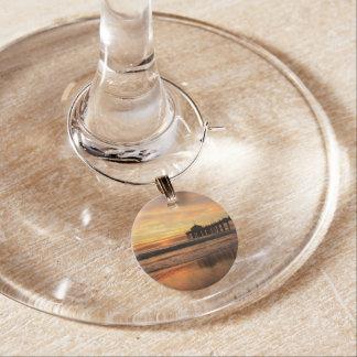 Pier beach sunset wine glass charm