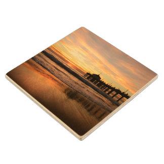 Pier beach sunset wood coaster