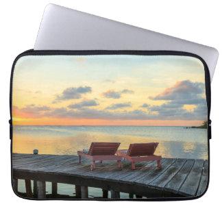 Pier overlooks the ocean, Belize Laptop Sleeve