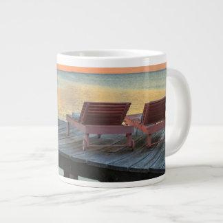 Pier overlooks the ocean, Belize Large Coffee Mug