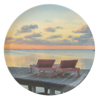 Pier overlooks the ocean, Belize Party Plates