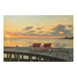 Pier overlooks the ocean, Belize Wood Canvases